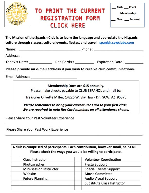 Registration Form  Spanish Club